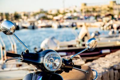 Italiaanse romantiek van de scooter